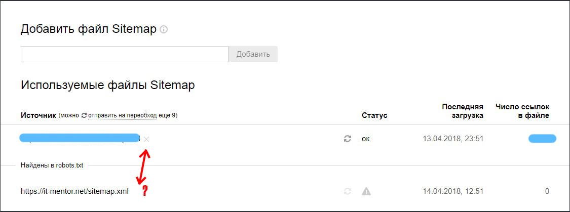 Отсутствует кнопка удаления карты сайта в Яндекс.Вебмастер