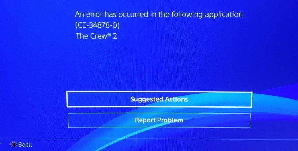 Ошибка CE-34878-0 у The Crew 2 на PS4