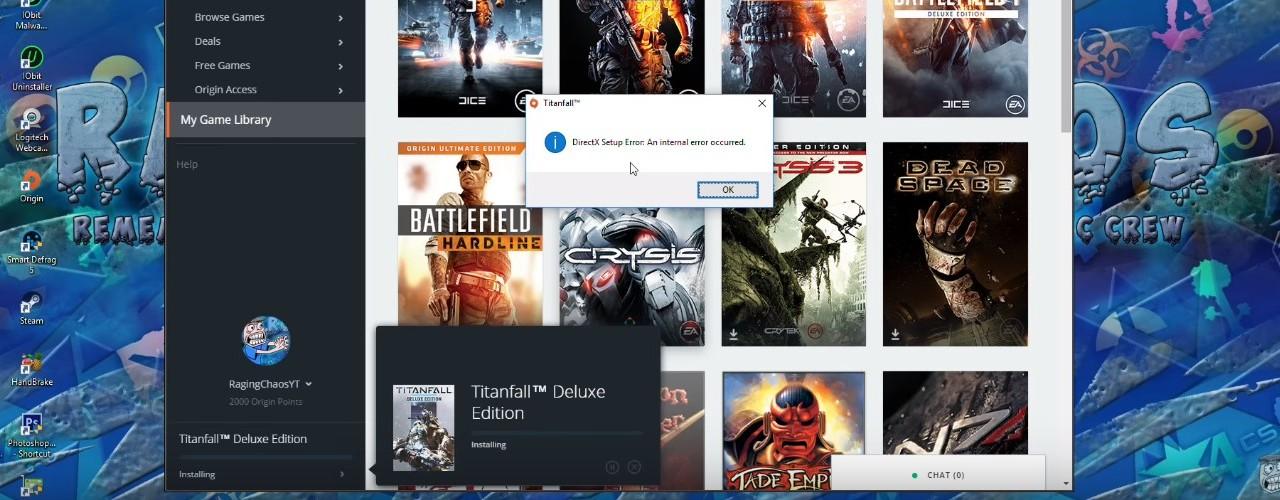 Ошибка DirectX при установке игр в Origin