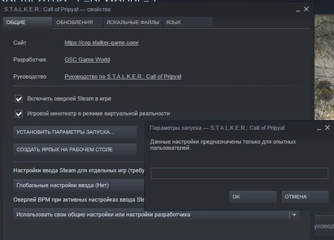 Параметры запуска игры в Steam